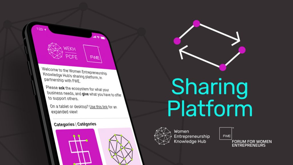"A graphic showing the WEKH/FWE: Sharing Platform on a mobile phone, with text reading ""Sharing Platform"" and the logos for the Women Entrepreneurship Knowledge Hub and the Forum for Women Entrepreneurs."