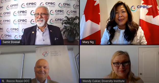 Image of smiling panelists participating in the virtual discussion featuring Samir Dossal, Hon. Mary Ng, Rocco Rossi, and Wendy Cukier.