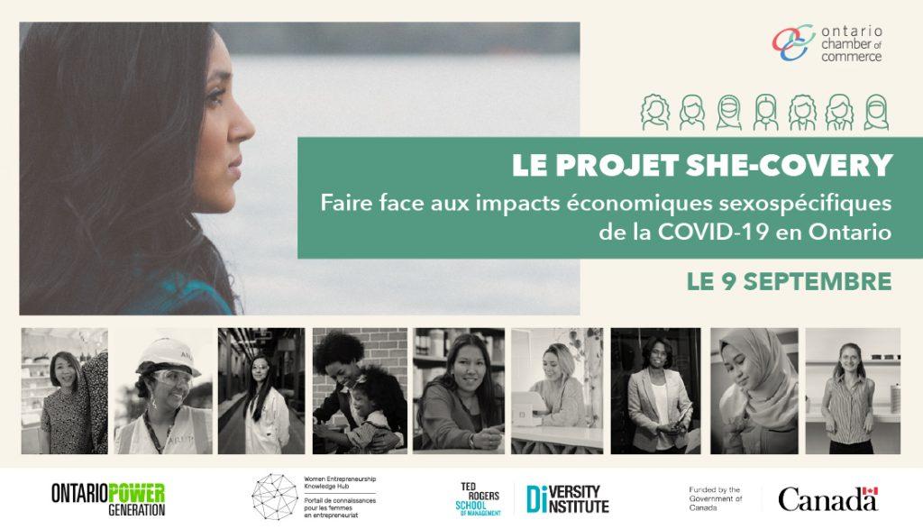 """Une image indiquant « Le projet """"She-Covery"""" : Faire face aux impacts économiques sexospécifiques de la COVID-19 en Ontario », avec des photographies de femmes issues de la diversité"""