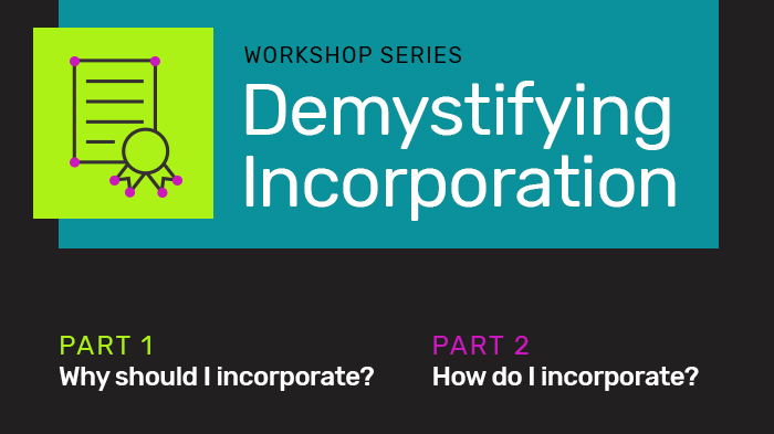 """A graphic advertising the """"Demystifying Incorporation"""" series in dark grey with a certificate and seal icon"""