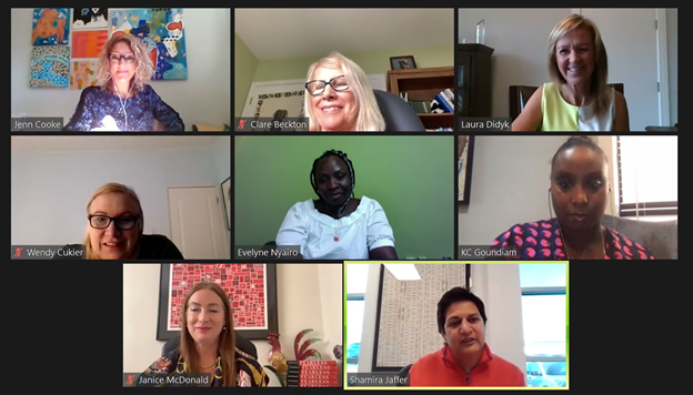 """A screenshot of speakers and panelists featured during the """"Growing Global"""" webinar, with Shamira Jaffer speaking"""