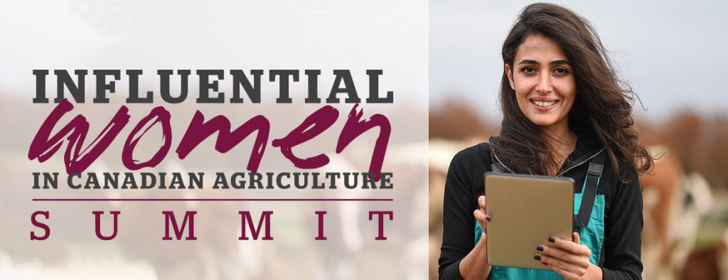 "A woman holding a notebook pictured in a dairy farm beside text reading, ""Influential Women in Canadian Agriculture Summit"""