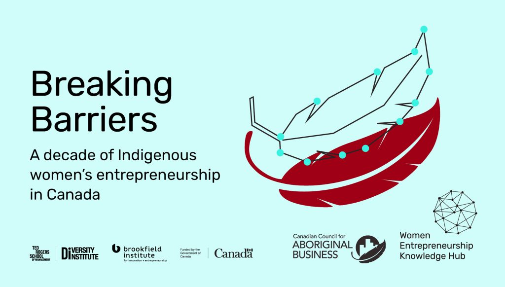 "A graphic featuring a red feather beneath another feather drawn in a line-art style with blue points at each corner that also reads, ""Breaking Barriers: A decade of Indigenous women's entrepreneurship in Canada"""