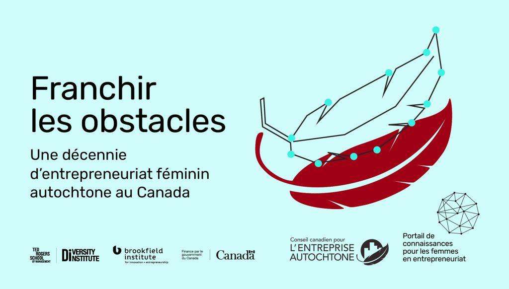 Une image sur laquelle figure une plume rouge, surmontée d'une autre plume dessinée au trait, chaque trait relié au suivant par un point bleu, ainsi qu'un texte indiquant « Franchir les obstacles : Une décennie d'entrepreneuriat féminin autochtone au Canada »