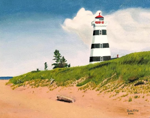 A painting of a black and white striped lighthouse up on a hill with sandy beach below and blue sky.