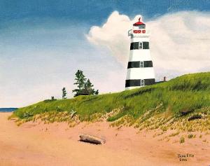 Une peinture d'un phare rayé noir et blanc sur une colline avec une plage de sable et un ciel bleu.