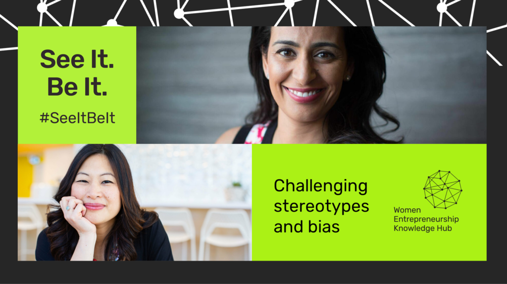 A See It. Be It. graphic featuring Manjit Minhas, Founder and CEO of Minhas Breweries, Distilleries, and Wineries; and Eva Wong, co-founder of Borrowell—two award-winning women entrepreneurs featured in the See It. Be It. database.