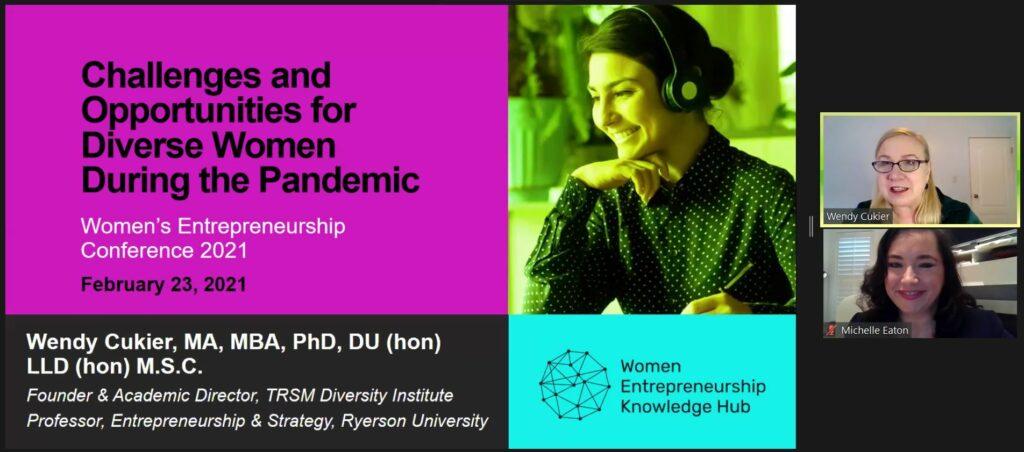Une capture d'écran de Wendy Cukier amorçant sa présentation, à côté d'une diapositive Powerpoint intitulée « Challenges and Opportunities for Diverse Women During the Pandemic » (défis et possibilités pour les femmes issues de la diversité pendant la pandémie)