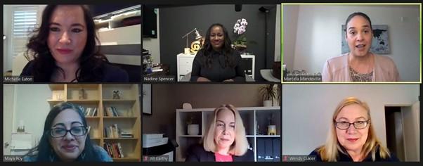 Une capture d'écran des intervenantes ayant pris part à l'événement, c'est-à-dire Michelle Eaton, Nadine Spencer, Marcela Madeville, Maya Roy, Jill Earthy et Wendy Cukier, Marcela Madeville étant en train de parler