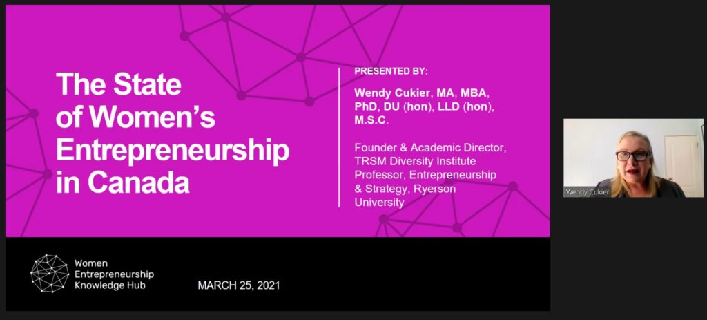 """A screenshot of Wendy Cukier presenting a slide deck entitled, """"The State of Women's Entrepreneurship in Canada"""" on a magenta background with line art orbs featured in the WEKH logo"""