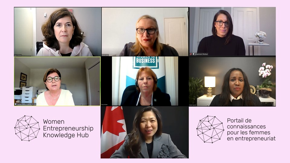 A graphic featuring screenshots of all speakers and presenters atop a pale pink background, including Alison Kirland, Wendy Cukier, Shannon Pestun, Tania Saba, Tanya Priske, Nadine Spencer, and Mary Ng, with Tania Saba speaking